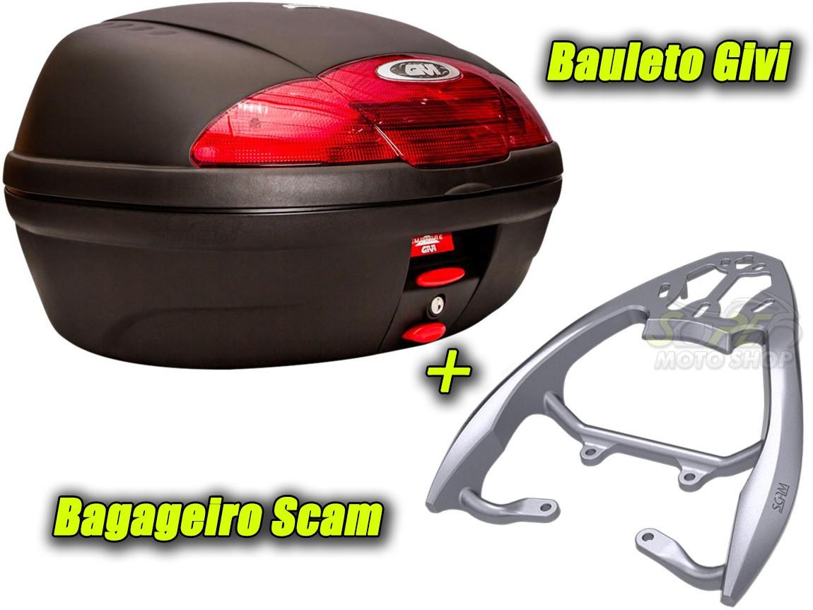 Kit Bauleto / Bau Traseiro Givi 45 Litros + Bagageiro Scam - CG 160 Fan / Start ano 2016 em Diante - Honda