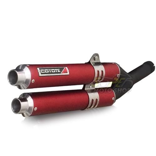 Escape / Ponteira Coyote Competition Duplo em Alumínio Vermelho - Bros NX-R 125/150 & 160 - Honda