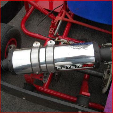 Escape / Ponteira Coyote RS Alumínio Redondo Kart com Motor 4 Tempos ( 13 HP ) - Polido