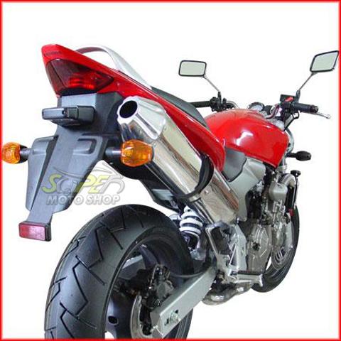 Escape / Ponteira Coyote SS1 Alumínio CB Hornet 600 até 2007 - Oval Preto Black - Honda