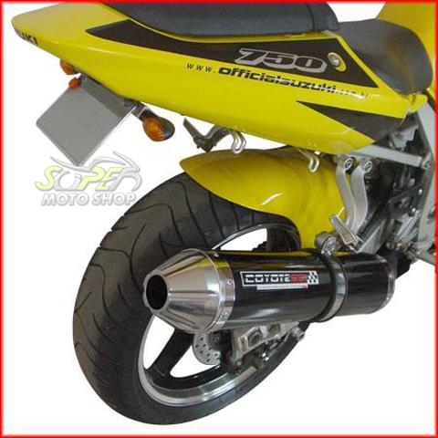Escape / Ponteira Coyote SS1 Alumínio GSX-R Srad 1000 até 2005 - Redondo Preto Black - Suzuki