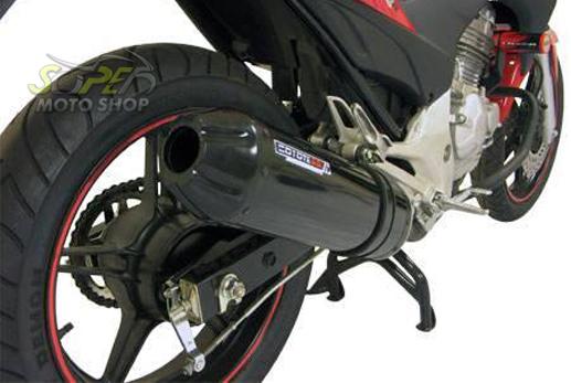 Escape / Ponteira Coyote SS1 Alumínio CG 150 Titan ESD até 2008 - Oval Preto Black - Honda