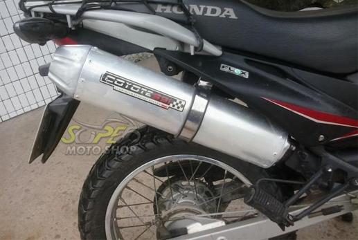 Escape / Ponteira Coyote SS1 Alumínio NX-R Bros 150 até 2008 - Redondo Polido - Honda