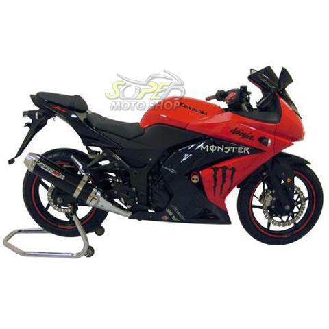Escape / Ponteira Coyote SS1 Alumínio Ninja 250 R - Oval Preto Black - Kawasaki
