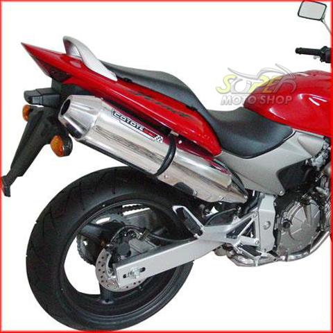 Escape / Ponteira Coyote SS1 Alumínio CB Hornet 600 até 2007 - Redondo Preto - Honda