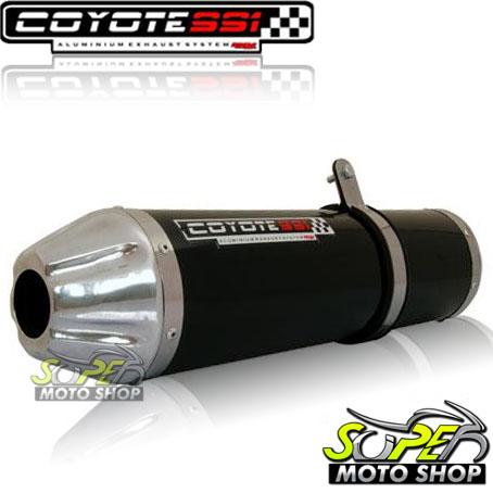 Escape / Ponteira Coyote SS1 Alumínio NX-R Bros 150 até 2008 - Redondo Preto - Honda