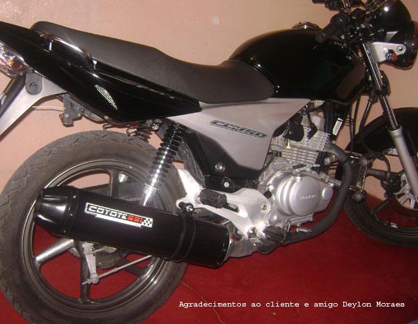 Escape / Ponteira Coyote SS1 Alumínio CG 125 Titan ES 2000 até 2004 - Oval Preto - Honda