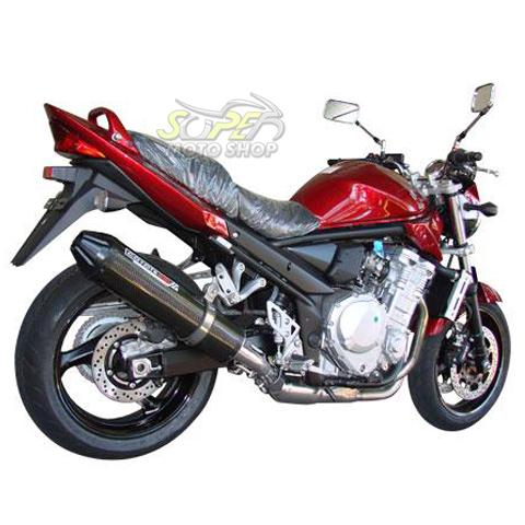 Escape / Ponteira Coyote SS1 Alumínio Bandit 650 até 2008 - Redondo Preto - Suzuki
