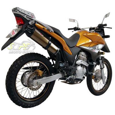 Escape / Ponteira Coyote SS1 Alumínio XRE 300 - Redondo Preto - Honda