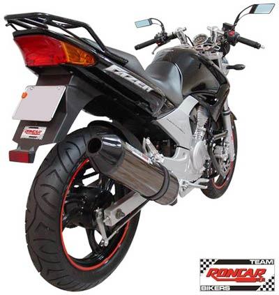 Escape / Ponteira Coyote SS1 Alumínio Fazer 250 até 2008 - Oval Preto - Yamaha
