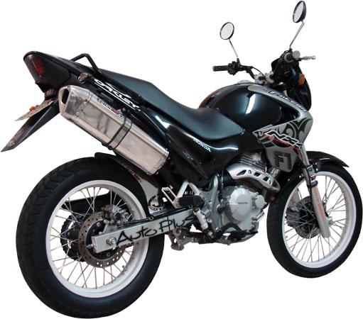 Escape / Ponteira Coyote TRS Tri-Oval Alumínio NX Falcon 400 até 2005 - Preto Black - Honda