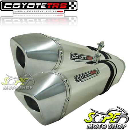 Escape / Ponteira Coyote TRS Tri-Oval 300mm Alumínio PAR GSX-R Srad 1000 2008 / 2009 - Polido - Suzuki