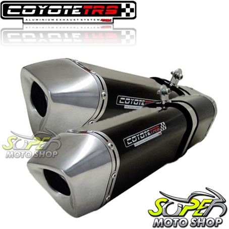Escape / Ponteira Coyote TRS Tri-Oval 300mm Alumínio PAR GSX-R Srad 1000 2008 / 2009 - Preto - Suzuki