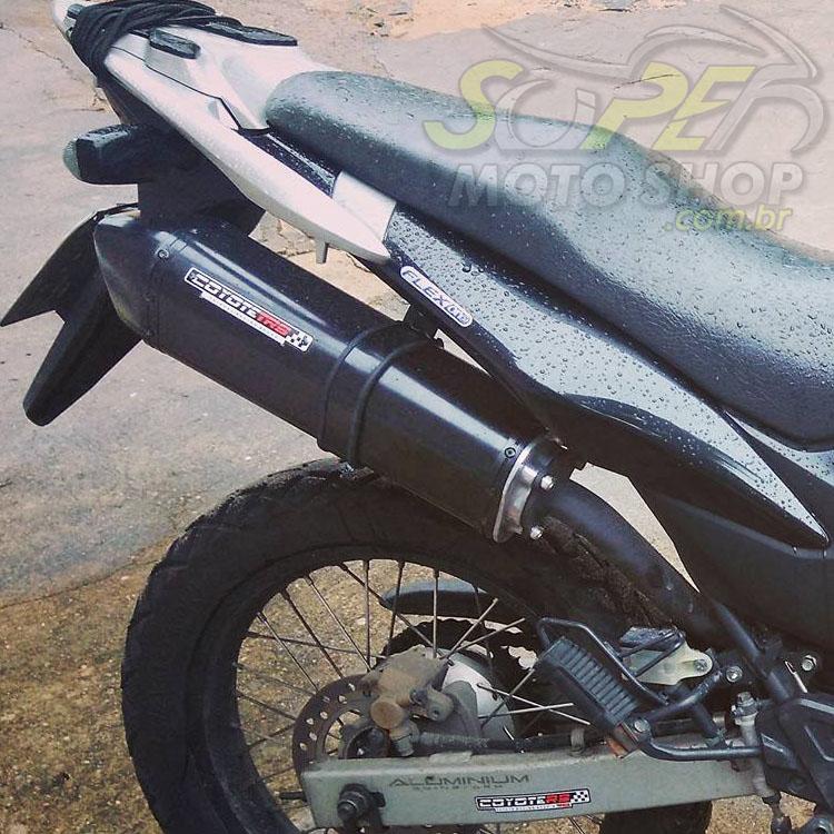 Escape / Ponteira Coyote TRS Tri-Oval Alumínio Preto - XRE 300 Todos os Anos - Honda