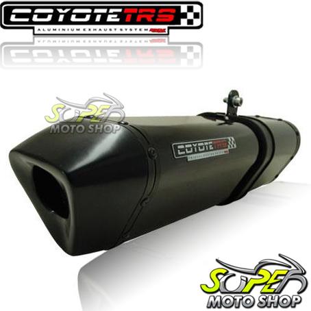 Escape / Ponteira Coyote TRS Tri-Oval Alumínio CG 150 Titan KS / ES até 2008 - Preto Black - Honda
