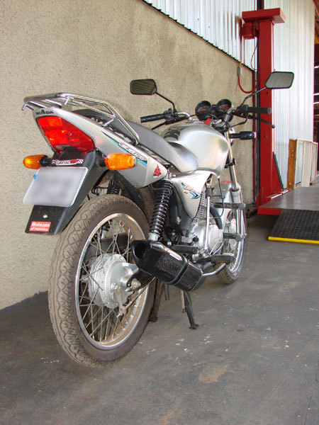 Escape / Ponteira Coyote TRS Tri-Oval Alumínio CG 125 Titan ES 2000 até 2004 - Preto - Honda
