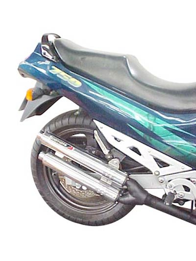 Escape / Ponteira Coyote Competition Alumínio Duplo GSX 750 F 1998 em Diante - Preto - Suzuki