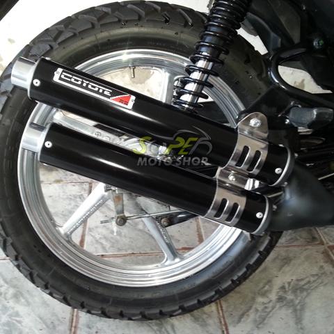 Escape / Ponteira Coyote Competition Alumínio Duplo CG 150 Titan / Fan ESDi/EX 2009 até 2013 - Preto - Honda
