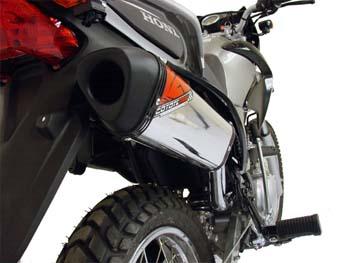 Escape / Ponteira Coyote TRS Off-Road Aluminio Polido com Boca Preta NX-R Bros 150 2009 em Diante - Honda