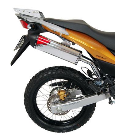 Escape / Ponteira Coyote TRS Off-Road Aluminio Polido com Boca Preta XRE 300 Todos os Anos - Honda