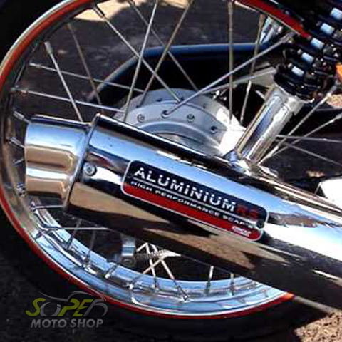 Escapamento Aluminium RS Boca 8 Oval CG 125 Fan até 2008 - Cromado - Honda