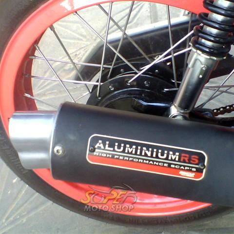 Escapamento Aluminium RS Boca 8 Oval CG 125 Turuna / ML 1978 até 1990 - Preto - Honda