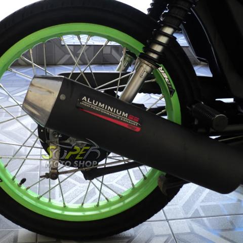 Escapamento Aluminium SS Crypton 105 até 2005 - Redondo Preto - Yamaha