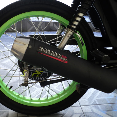 Escapamento Aluminium SS NX 150 - Redondo Preto - Honda