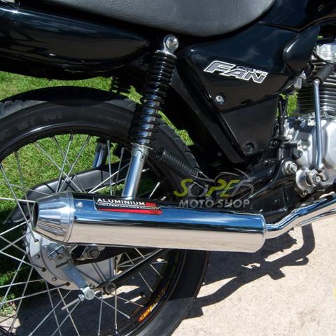 Escapamento Aluminium SS CG 125 Fan 2009 até 2013 / 2014 em Diante - Redondo Cromado - Honda