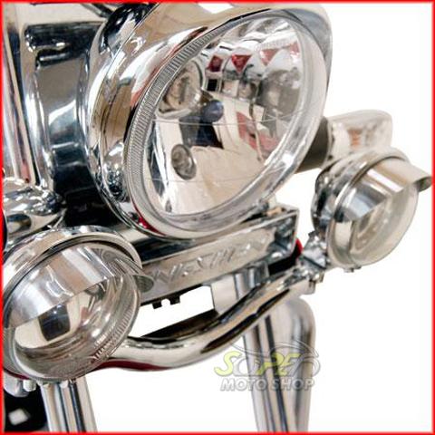 Jogo de Farol Auxiliar Kit Suporte + Faróis Cromados Com Abas HD Sportster XL 1200 1996 até 2003 - Harley Davidson