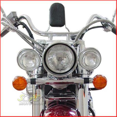 Jogo de Farol Auxiliar Kit Suporte + Faróis Cromados Sem Abas Shadow 750 até 2010 - Honda