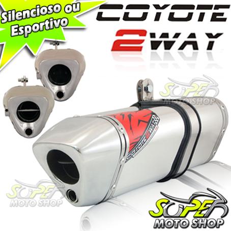 Escape / Ponteira Coyote TRS 2 WAY Alumínio - CG 150 Titan KS/ESi 2009 até 2013 - Polido - Honda