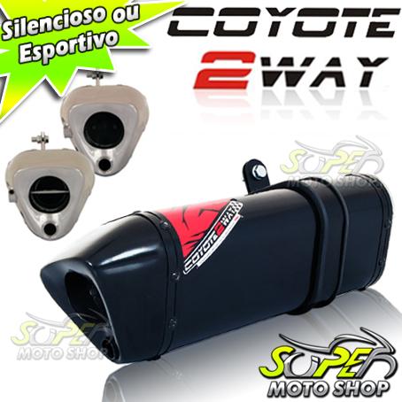 Escape / Ponteira Coyote TRS 2 WAY Alumínio CG 150 Titan / Fan ESDi/EX 2009 até 2013 - Preto Black - Honda