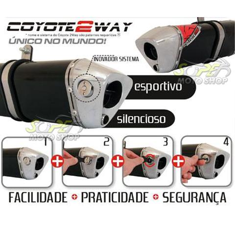 Escape / Ponteira Coyote TRS 2 WAY Alumínio CG 125 Titan KS 2000 até 2004 - Preto - Honda