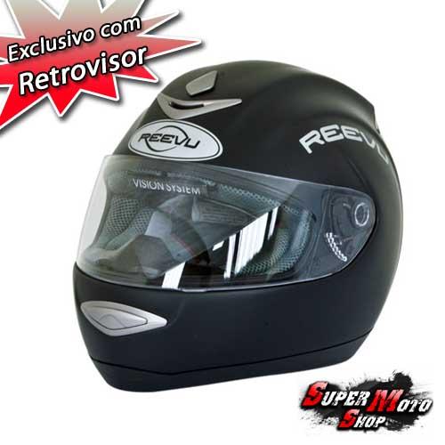 Capacete com retrovisor REEVU Preto Fosco - Super Moto Shop a1f742b58ae