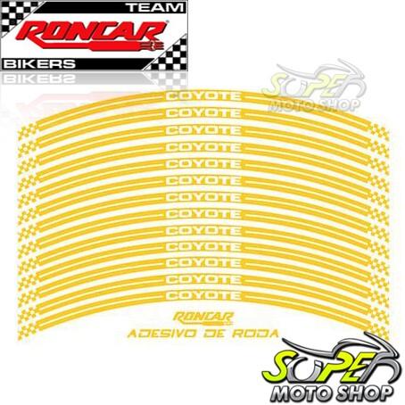 Adesivo Refletivo Coyote para Rodas Dianteira e Traseira Amarelo - Bros 125 / 150 / 160 - Honda