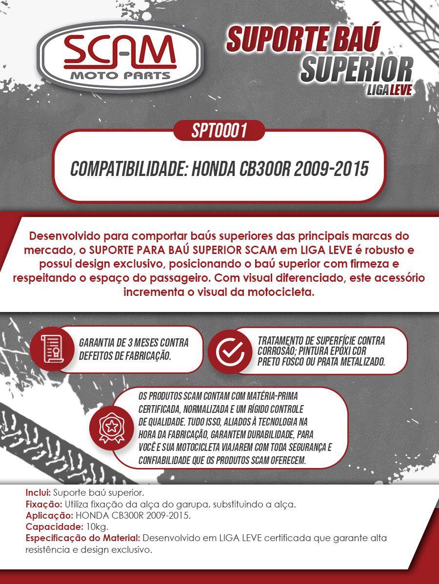 Bagageiro / Suporte Liga Leve Scam em Cromado - CB 300 R - Honda