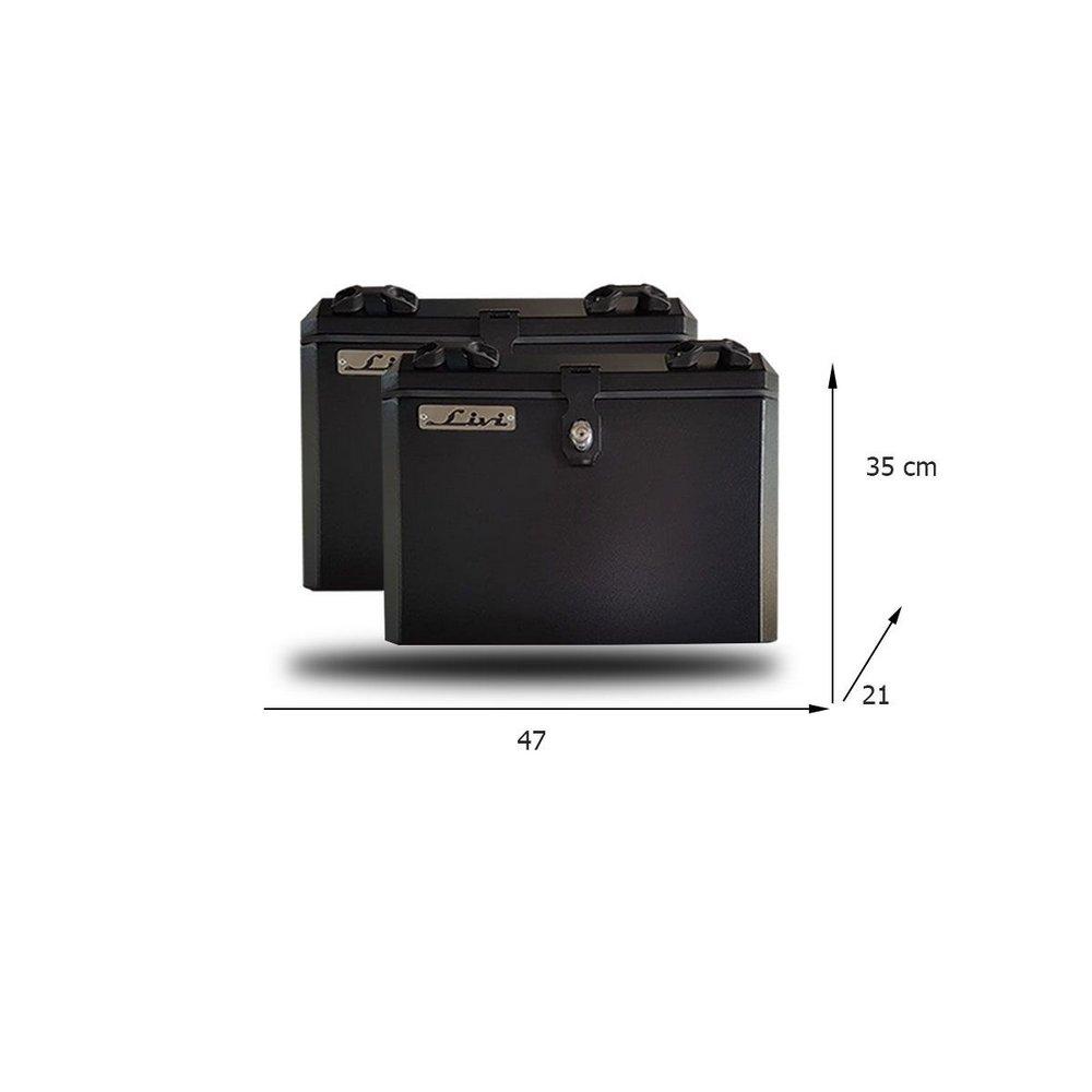 Bauletos / Baús Laterais / Side Case Modelo Livi 35 Litros PAR + Suporte Lateral - V-Strom DL 650 2017 em diante - Suzuki