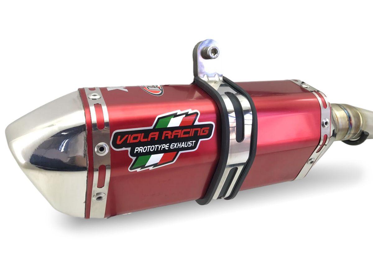 Escape / Ponteira Viola Racing  Modelo MS1/EX + Curva em Aço Inox - CRF 230 - Honda