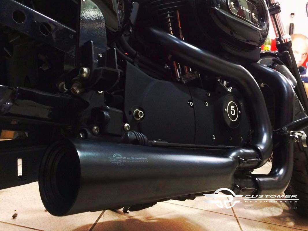 Escapamento Esportivo Modelo Customer 2 5 Conico 2x1 Sportster Roadster 1200 Harley Davidson Super Moto Shop