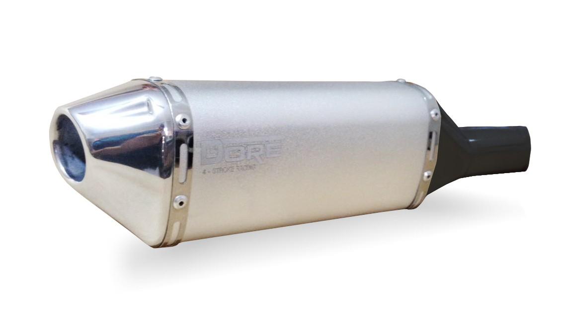 Escape / Ponteira Alumínio Dore + Curva em Inox - Bros 150 & Bros 160 - Prata - Honda