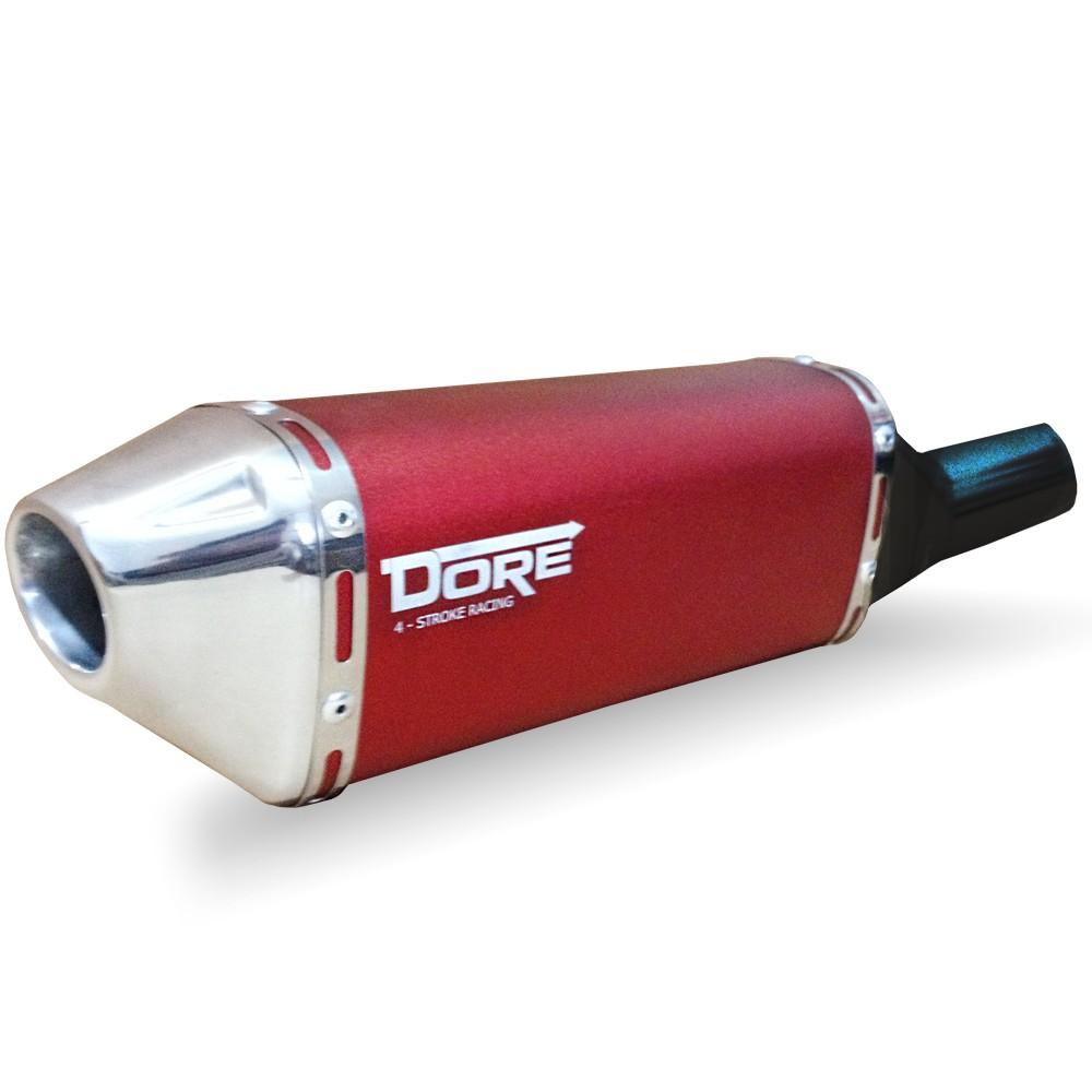 Escape / Ponteira DORE em Alumínio + Curva em Inox - Bros 150 & Bros 160 - Vermelho - Honda