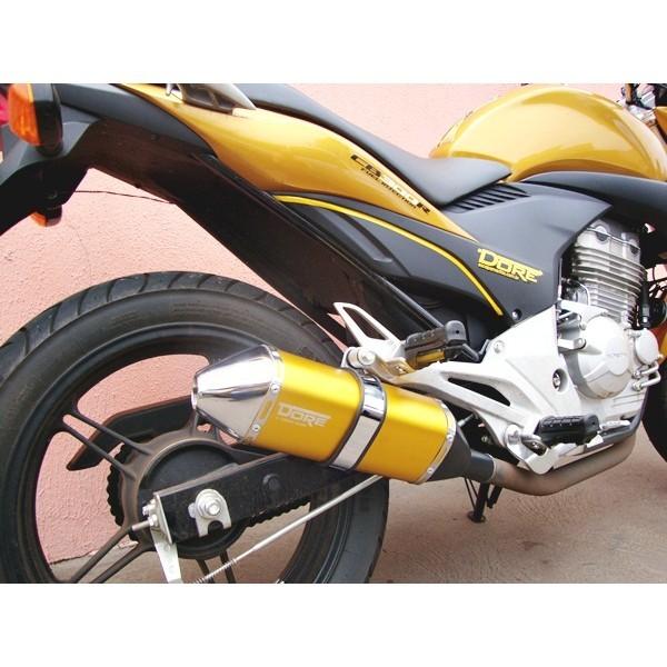 Escape / Ponteira Alumínio Dore + Curva em Inox - CB 300 R Todos os Anos - Dourado - Honda