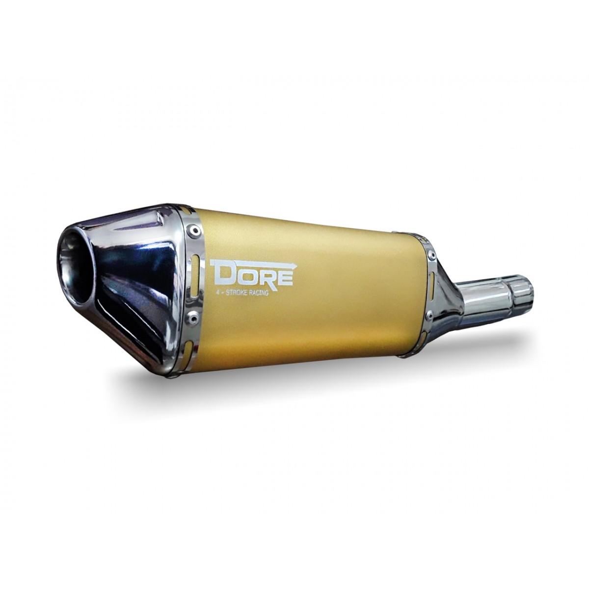 Escape / Ponteira Alumínio Dore + Curva em Inox - CG 150/125 Titan / Fan KS ESi ESDi EX 2000 até 2015 - Dourado - Honda
