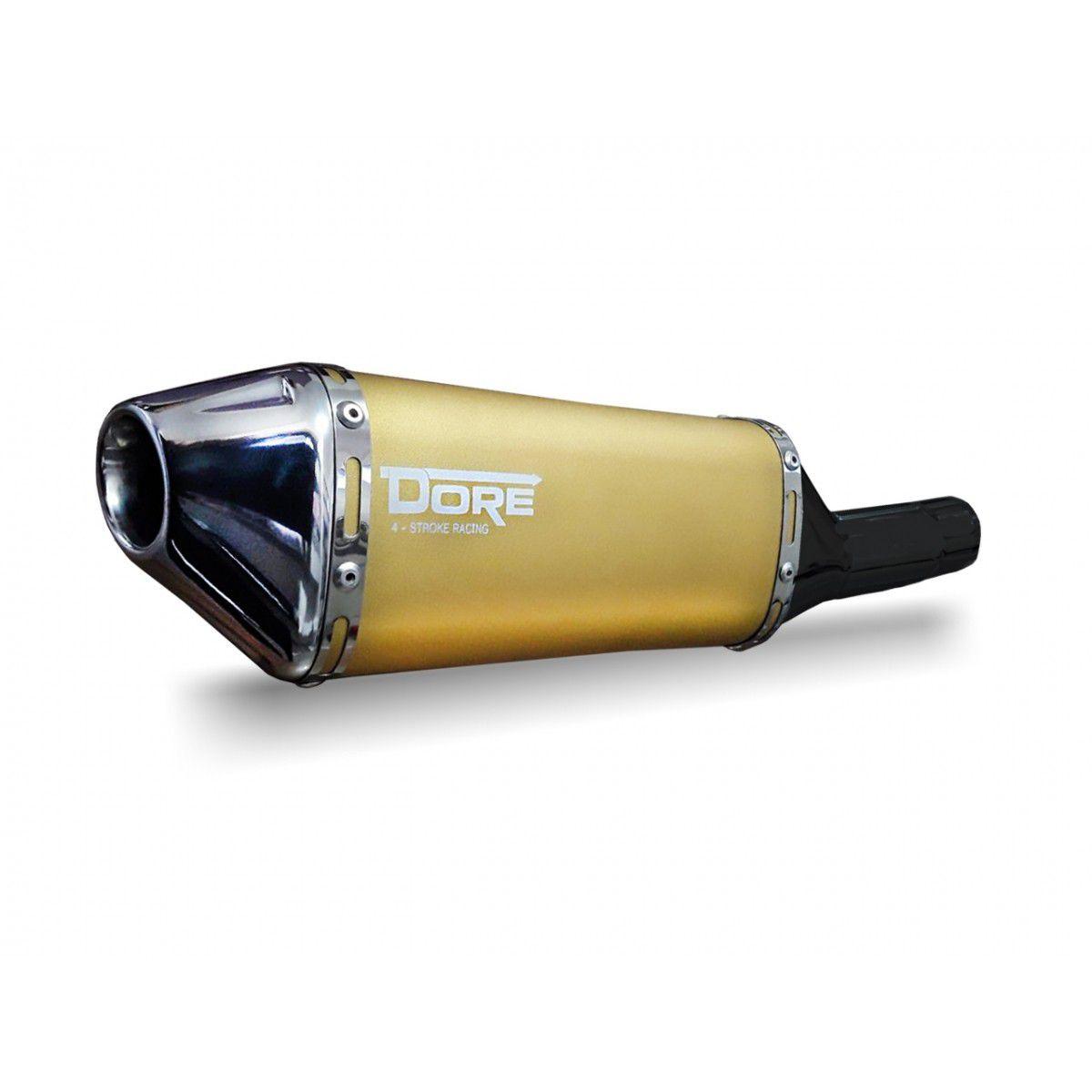 Escape / Ponteira Alumínio Dore + Curva em Inox - Tornado XR 250 - Dourado - Honda