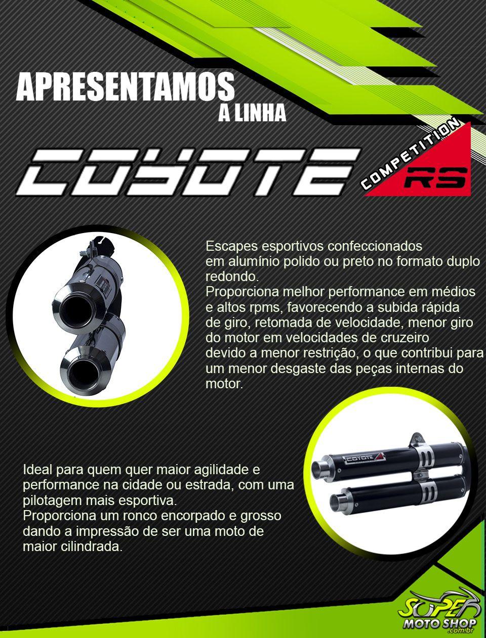 Escape / Ponteira Coyote Competition Duplo em Alumínio - CG 125 Fan ano 2009 em Diante - Honda