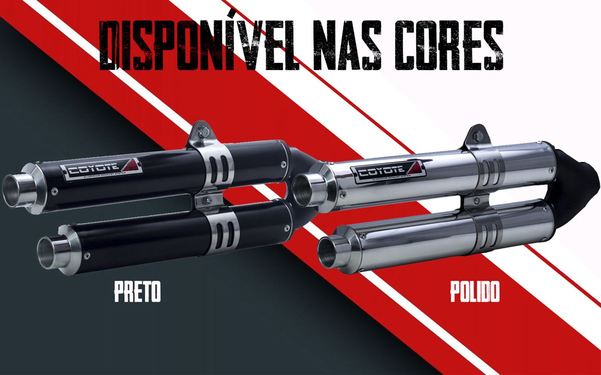 Escape / Ponteira Coyote Competition Duplo em Alumínio - CG 150 Titan / Fan ESDi EX 2009 até 2013 - Honda