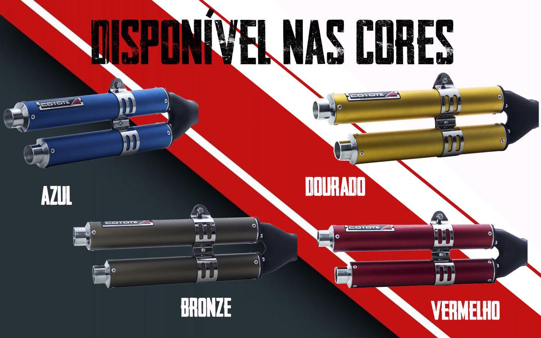 Escape / Ponteira Coyote Competition Duplo em Alumínio Colorido (Anodizado) - Bros NX-R 160 - Honda