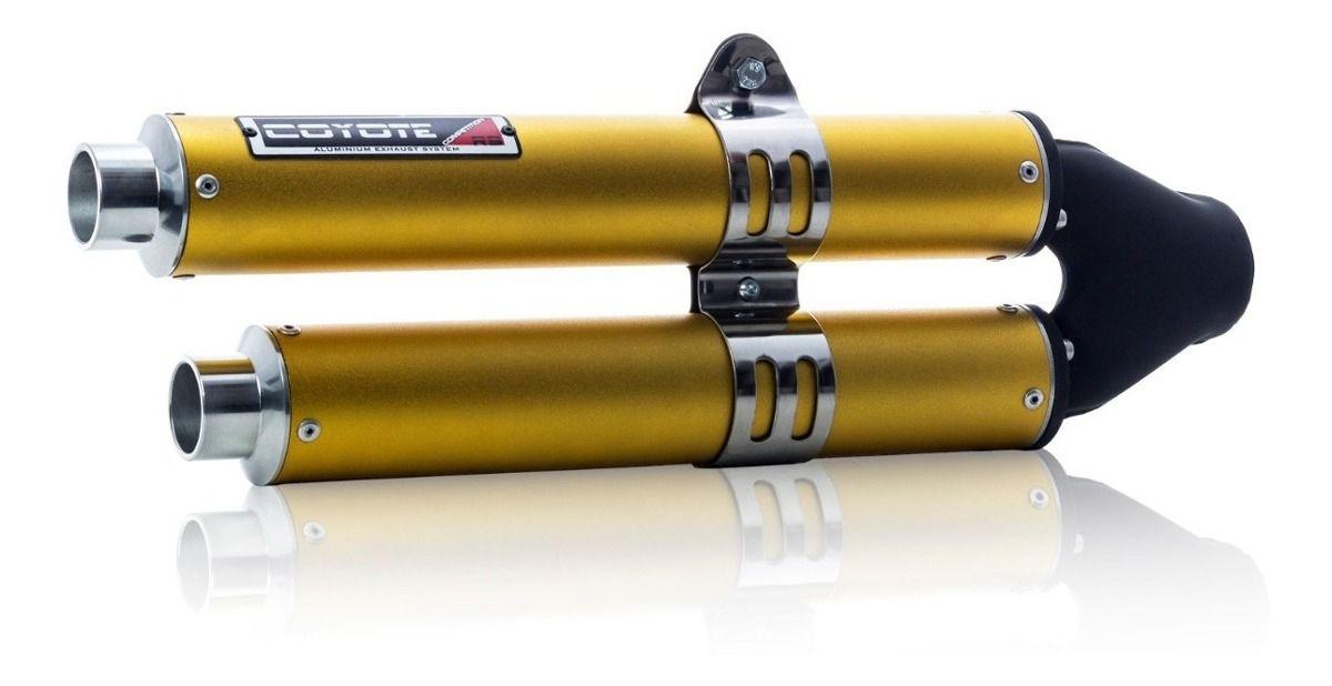 Escape / Ponteira Coyote Competition Duplo em Alumínio Colorido (Anodizado) - CG 160 Titan - Honda