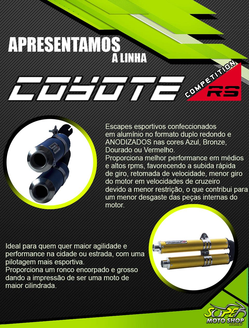 Escape / Ponteira Coyote Competition Duplo em Alumínio Colorido (Anodizado) - Tornado XR 250 ano 2007/2008 - Honda